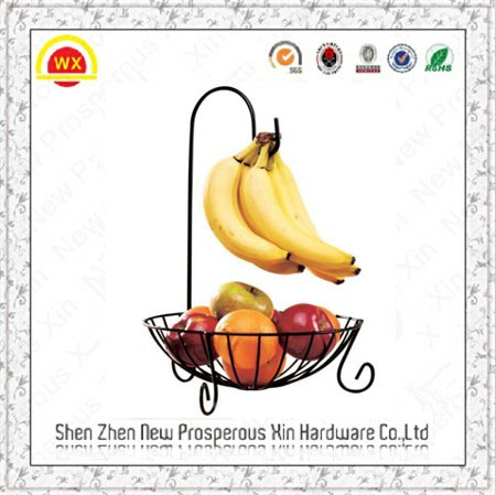New Wire Fruit Bowl with Banana Hanger Holder Stand Basket