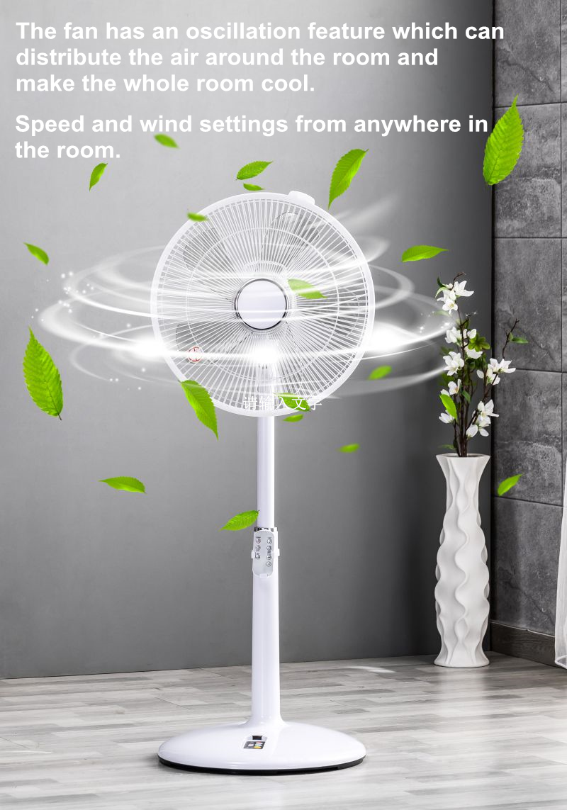 amazon top seller 2019 Adjustable Oscillating electric standing 14 inch 8 Speed 5 Blades remote control DC Pedestal home Fan