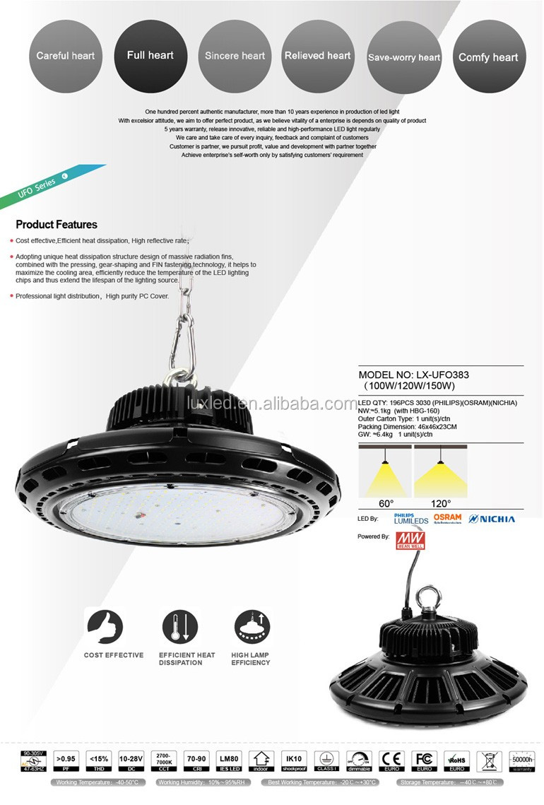 factory price low heat waterproof 150w high power e40 led high bay light
