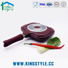 SGS certificate die casting aluminium ceramic double grill pan, stone divided frying pan