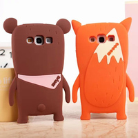 3D Cartoon animal Korea Orange Fox&Brown Bear case cover skin shell For For Samsung Galaxy S3 III I9300/ S4 SIV I9500 /S5 I9600