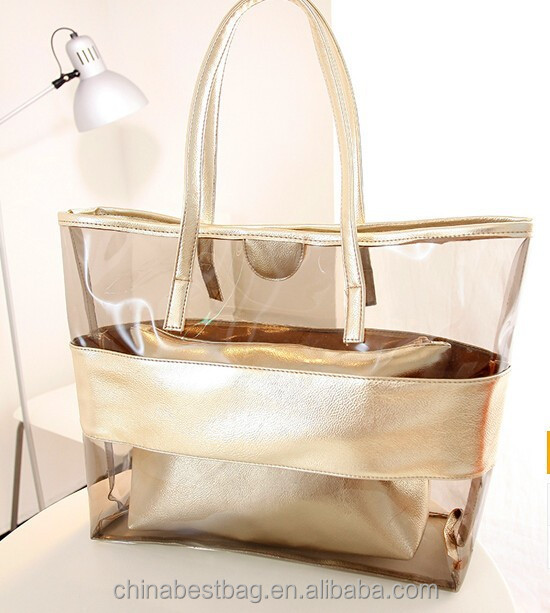 Cheap Beautiful Ladies Handbag Transparent PVC Beach Bag