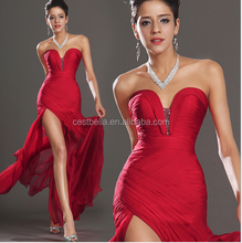 Wholesale Woman Red Sexy Evening Gown Side Split Dress Unique Design Red Evening Gowns Long Side Open