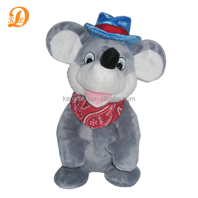 Grey mouse toy with funny cowboy hat for kids