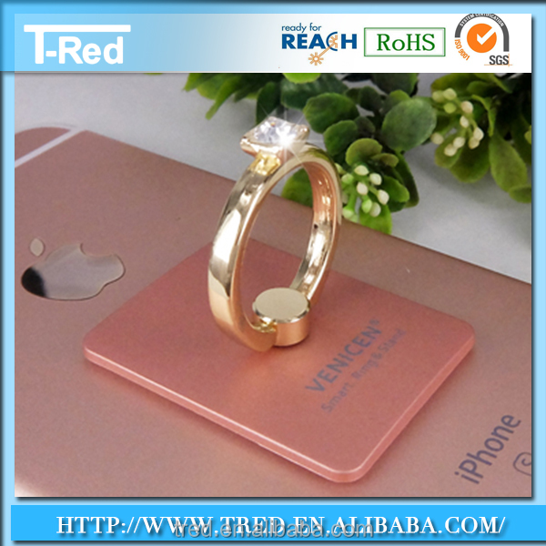 Pink Elegant Ring Holder for Mobile Security with Jewel