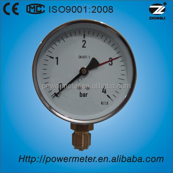 "1.5"" 40mm low pressure level gauge chormed steel case nature gas mini manometer"