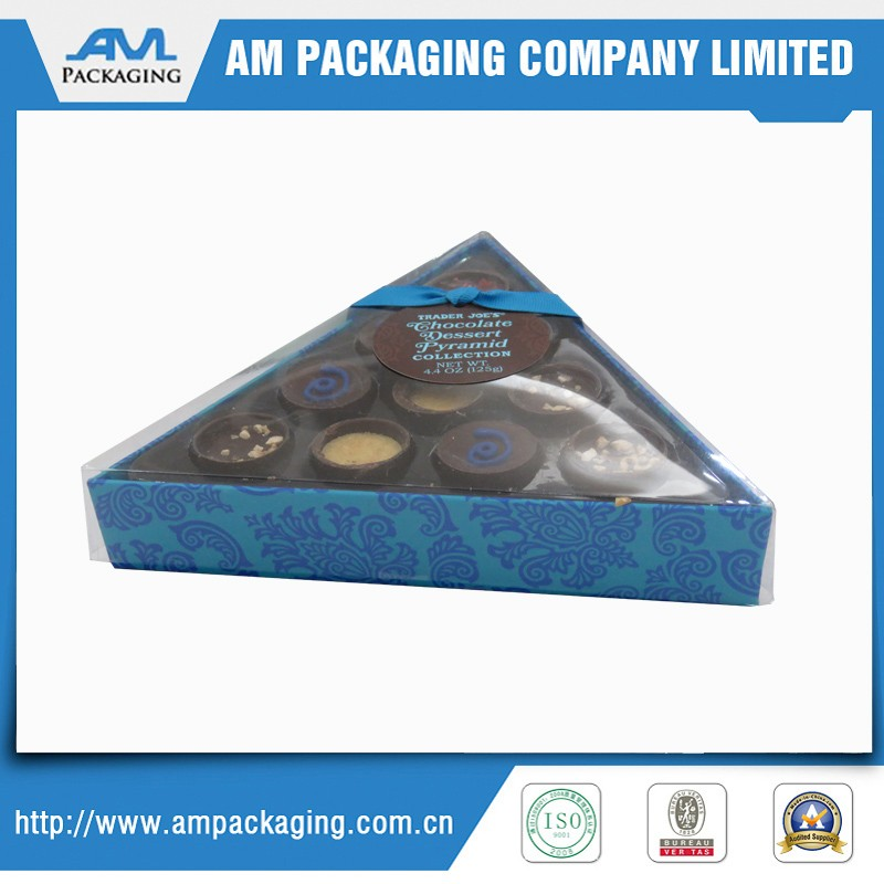 chocolate paper box with window plastic cover triangle shape acetate tray