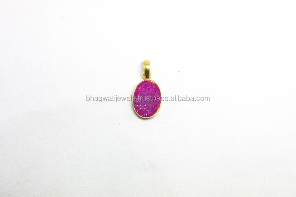 Gold plated 925 sterling silver Pink coated druzy gemstone pendant jewelry