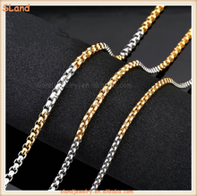 Fashion Men Jewelry 2017 Semi polished & gold plated Stainless Steel Square Rolo Chain Necklace,Round box Chain Wholesale