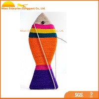 lovely colored cotton fish cat toy