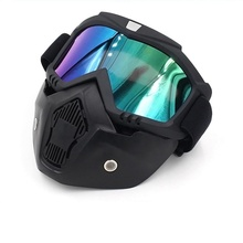 Motorcycle Goggles Mask Detachable Protect Padding Helmet Sunglasses with Removable Face Mask Mouth