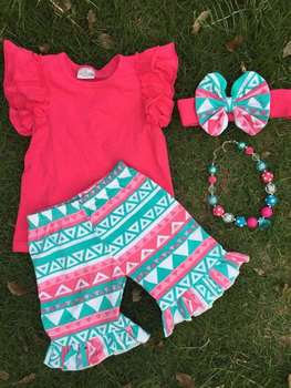 Fully stocked new fashion girl hot pink short et summer girl boutique shorts girls ruffle short set with necklace and headband