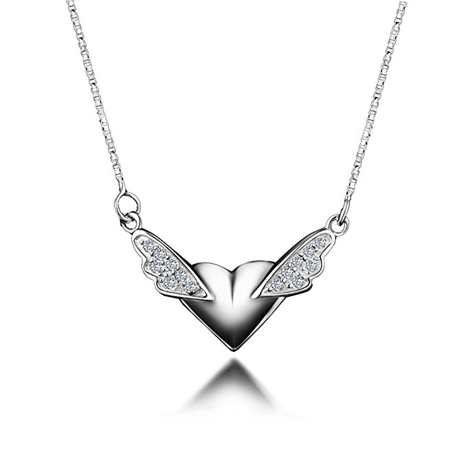 Angel Wings Heart Pendant Mother Day Gift Fashion Jewelry For Girls