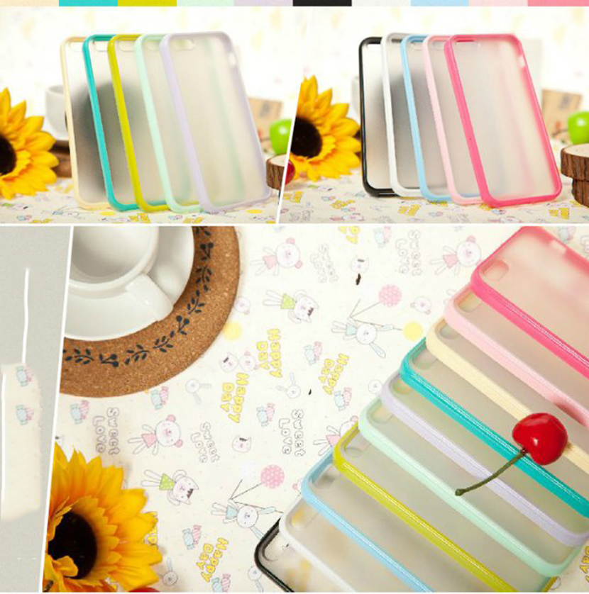 Colorful simple style tpu pc bumper case for iphone5/6/6plus cover for samsung s4/s5/s6/s7 edge