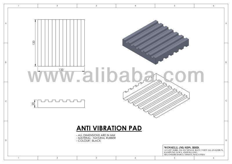 120MM X 120MM X 20MM Anti Vibration Pad