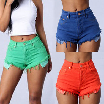 2017 Summer Denim Shorts For Women Cotton Candy Color Short Jeans For Women Mid Waist Black White Sexy Shorts Plus Size