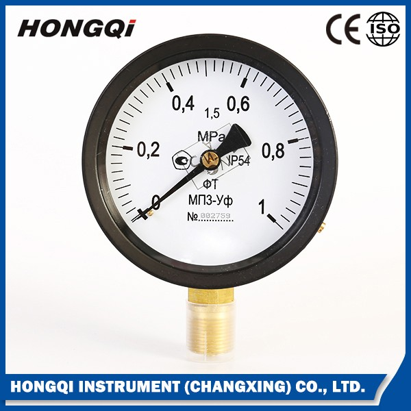 "100mm(4"") panel mount low bourdon tube type pressure gauge 0~140 psi &0~10 bar"