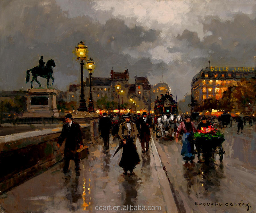 China hot sale night streetscape paris street scene oil painting for decor