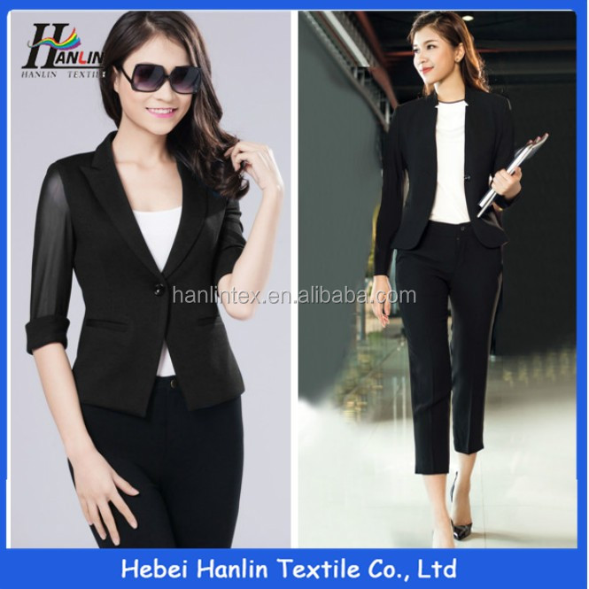 polyester rayon spandex blend tetron crepe textile fabric for business suit for women