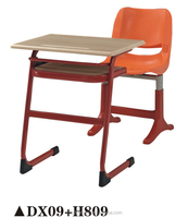 Cheap price metal frame wood school desk and chairs set DX09+H809