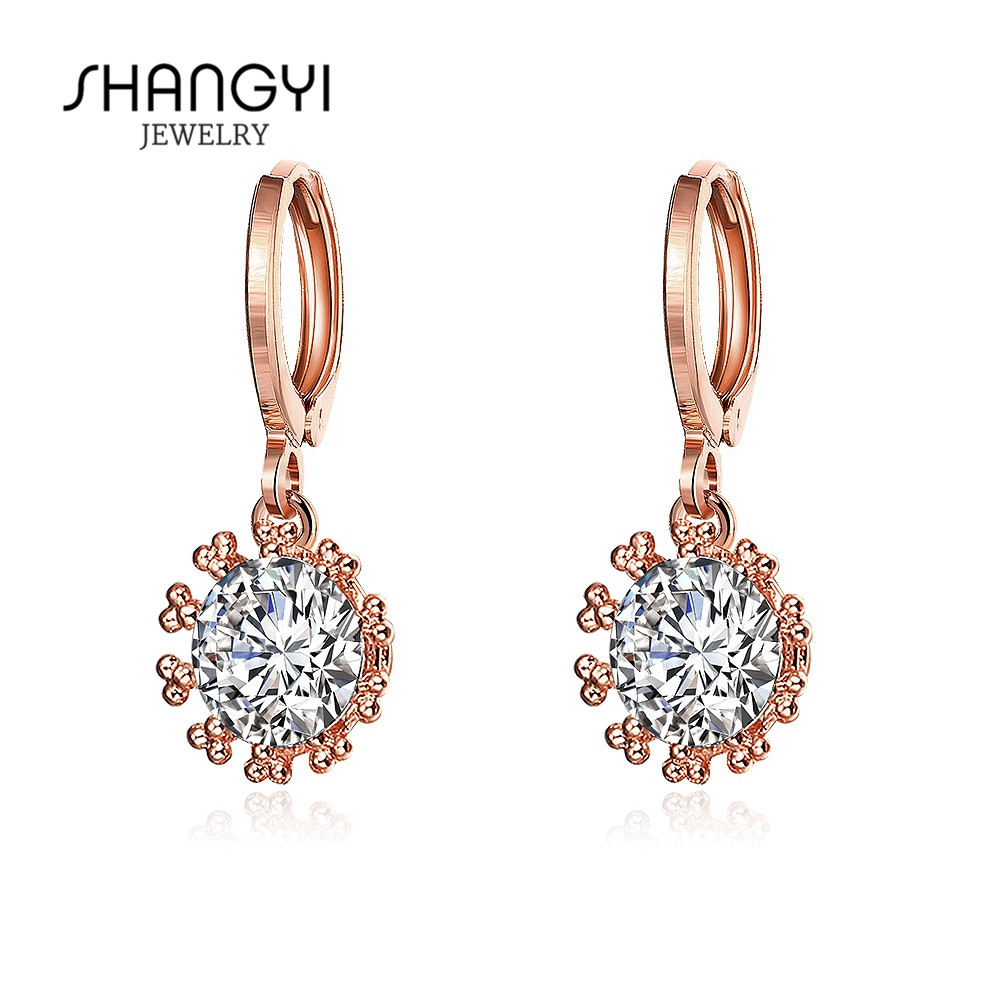 White Round Ball Shape Brass Alloy Pane Zircon Girls Earrings
