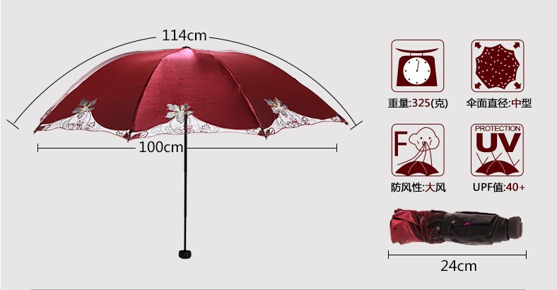 Various color competitive price waterproof embroidery design ladies umbrella
