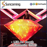 2016 New Design High brightness full color diamond shaped dj booth led display for bar