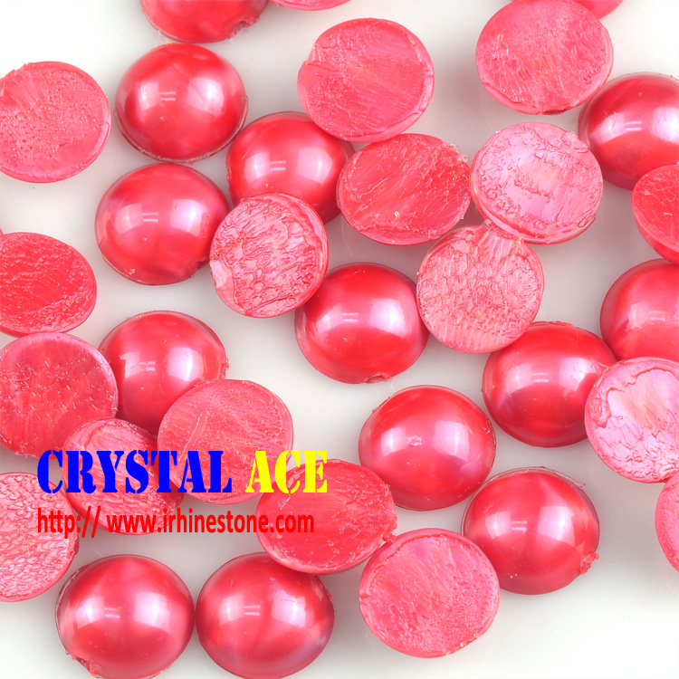Siam red color 7mm half cut plastic ABS pearl beads in bulk in China
