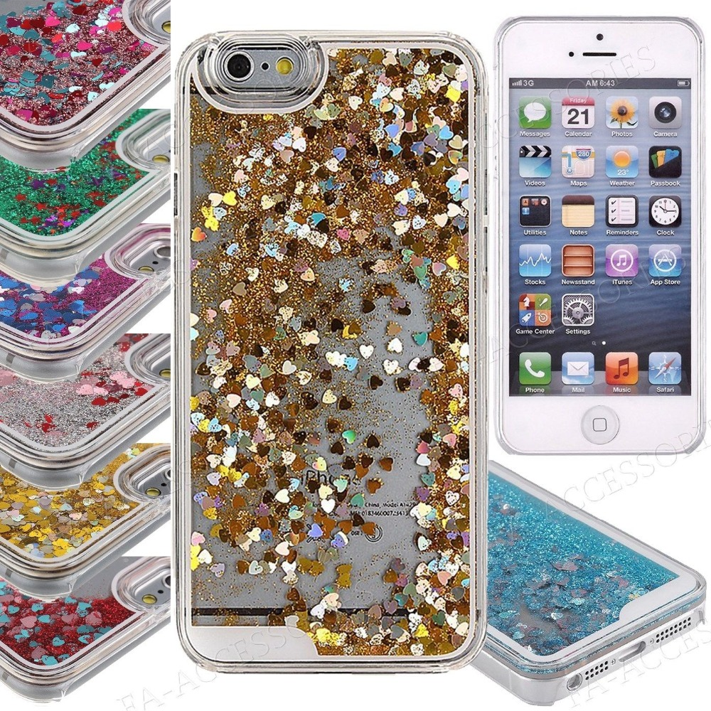 3D Liquid Quicksand Glitter Bling Heart Hard Back Case Cover For iPhone 6 6s 4.7 inch
