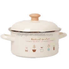 New Design Flower Decals Enamel Cookware & strait pot with coating high quality enamel lid wooden knob