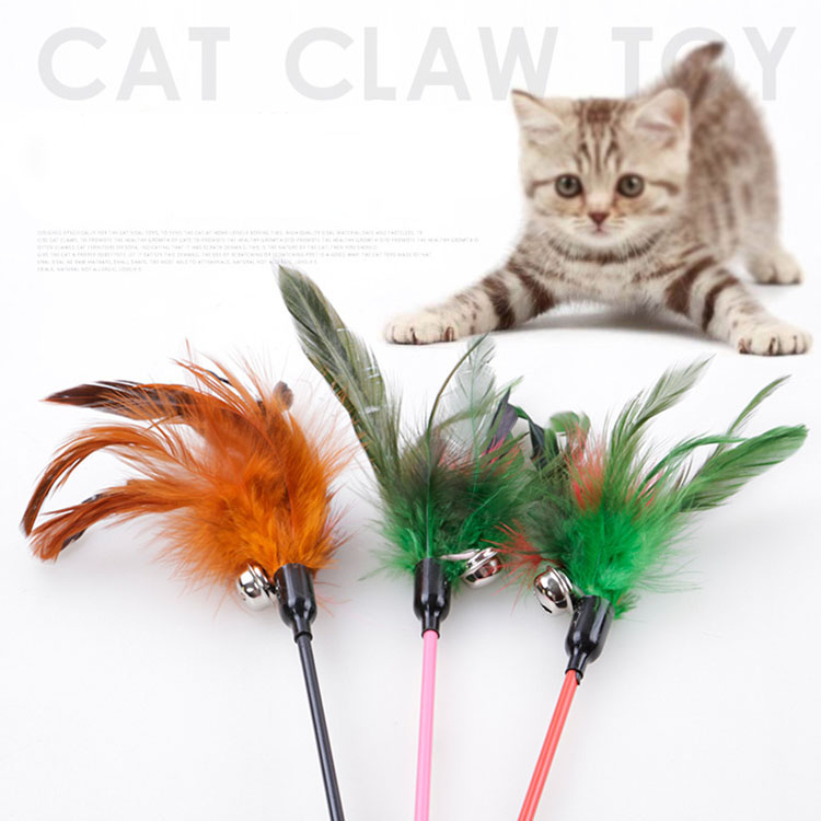 Amazon customize fishing pole cat feather wand pet toys for kitten