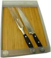 2 pc carving set with bamboo board