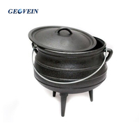 Outdoor big belly casting iron indian cooking pots with 3 legs