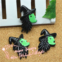 wholesale resin Flat back green profile of witch with hat halloween decoration 24*23mm