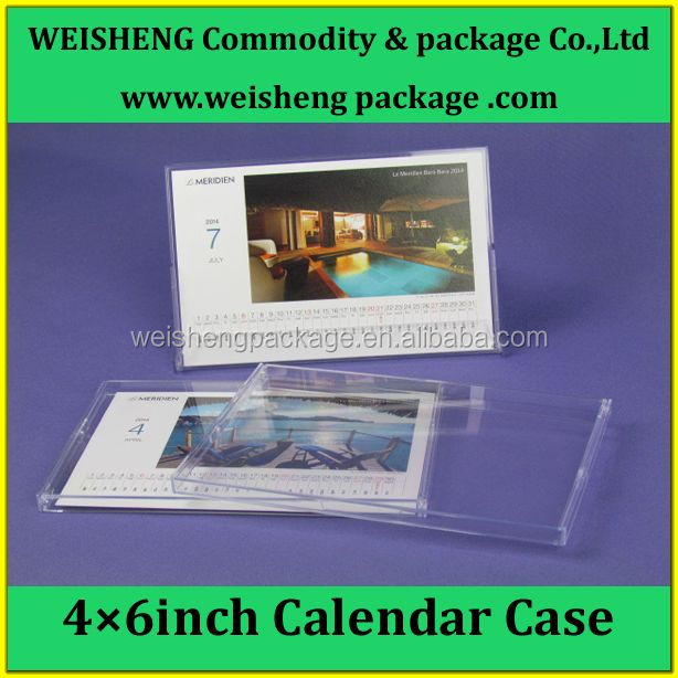 Transparent/crystal color plastic calendar case/rectangular calendar box