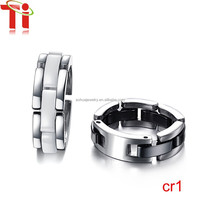 Fashion latest jewelry stainless steel white ceramic finger ring