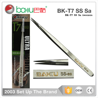BK T7 7-SA BaKu Promotional Smart S2 Stainless Tweezer Set Manufacturer Produce Antistatic ESD Soldering Tweezer And Pincette