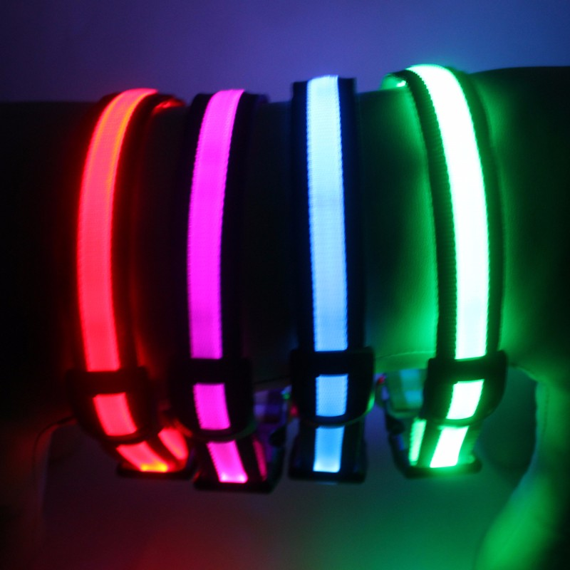 Wholesale High Quality Pets Toys and Accessories Custom Nylon LED Glow Pet Collars
