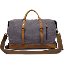 YD-2077 Genuine leather decorated large capacity luggage duffle bag vintage canvas travel bag