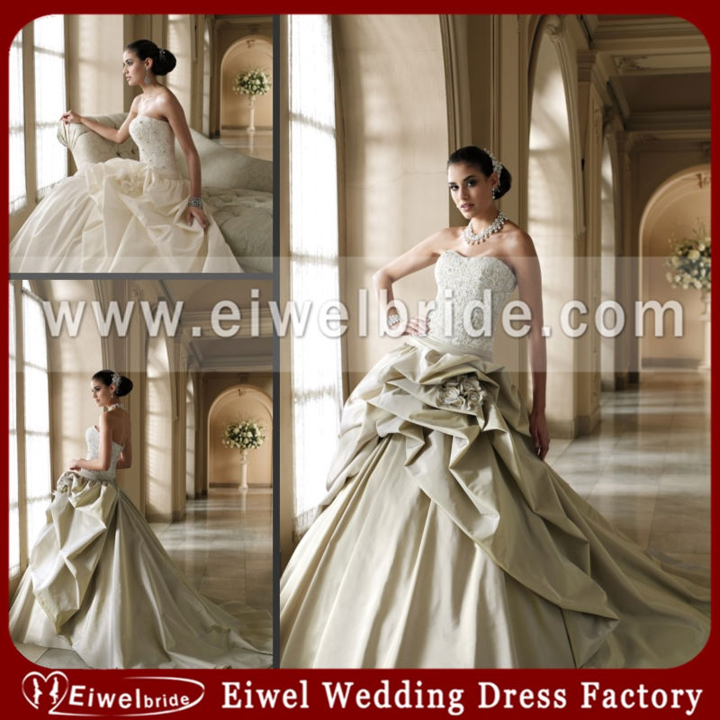 M253 Lace Coset Ruffled Grey And White Wedding Dresses