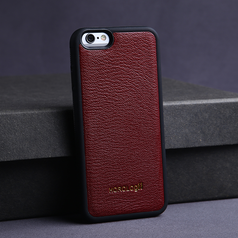 Elegant and refined Goat skin wine red China's cell phone case