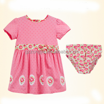 Baby frock design 100% cotton small girls dress with little underwear