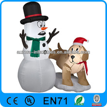 SNOWMAN AND A DOG AIRBLOWN INFLATABLE CHRISTMAS YARD DECOR