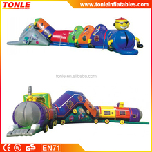pvc cheap inflatable tunnel, Chuggy Choo Choo inflatable tunnel, kids outdoor play tunnel