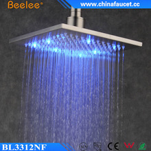 New Bathroom Brushed Square High Flow Temperarure Control Led Light Top Shower