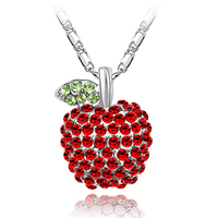 sweet bless charm jewelry swarovski element lucky apple necklace