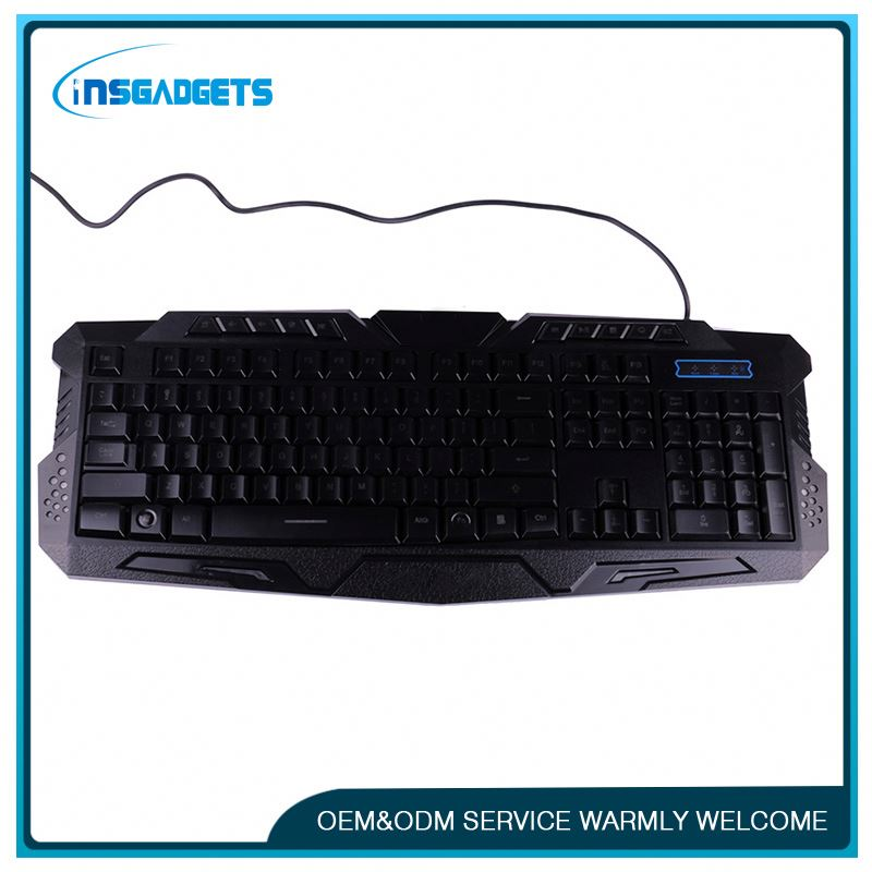 7 colors backlight gaming keyboard ,h0tuc game membrane keyboard with colorful backlight for sale