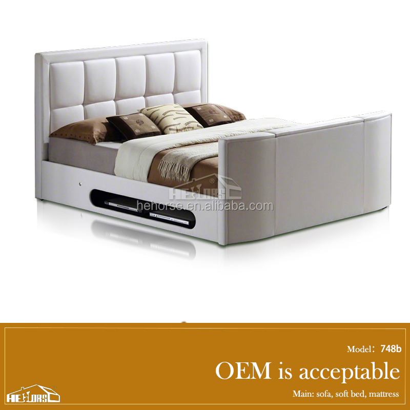 modern bedroom furniture faux leather tv bed with tv lift in footboard 748a#