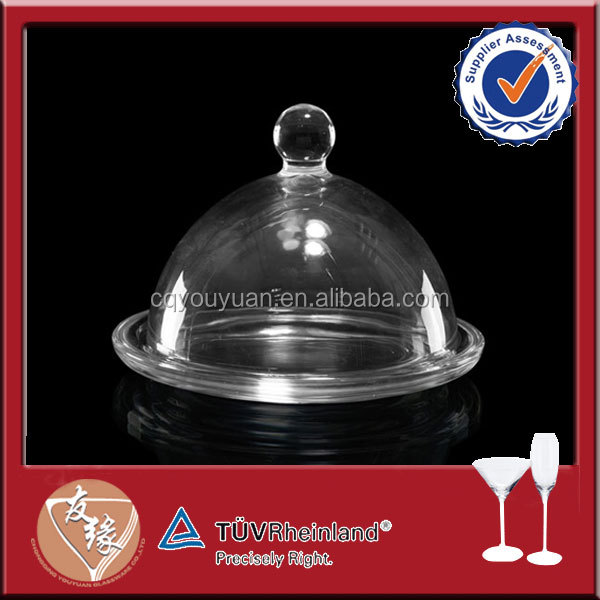 High clear glass plates round with dome cover
