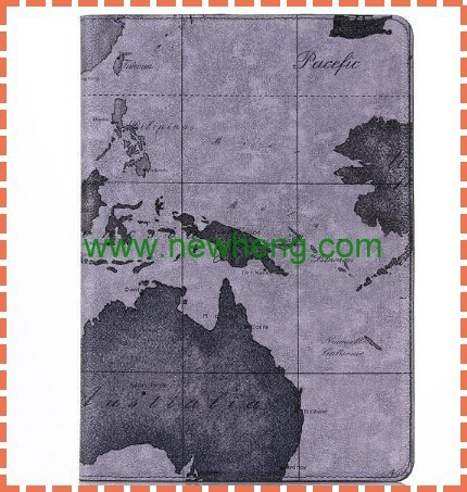 New Arrival Vintage World Map Rotation Leather Case For iPad Air 2